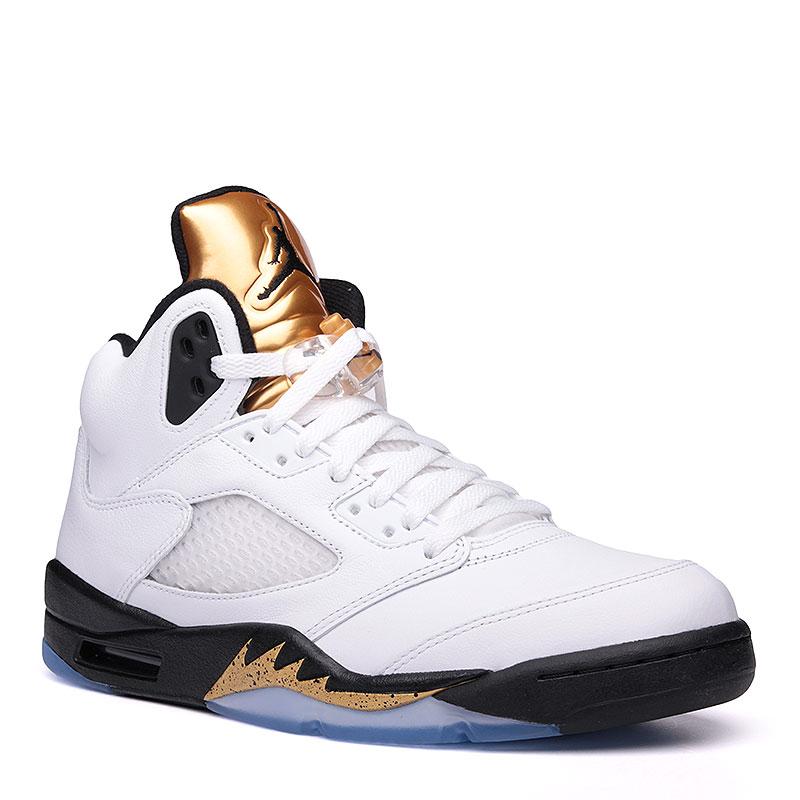 Кроссовки Air Jordan V RetroКроссовки lifestyle<br>кожа, синтетика, текстиль, резина.<br><br>Цвет: белый.<br>Размеры US: 13.5<br>Пол: Мужской