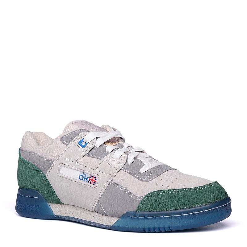 Кроссовки Reebok GS Workout Lo PlusКроссовки lifestyle<br>кожа, текстиль, резина<br><br>Цвет: Серый,зеленый,синий<br>Размеры US: 11;11.5<br>Пол: Мужской