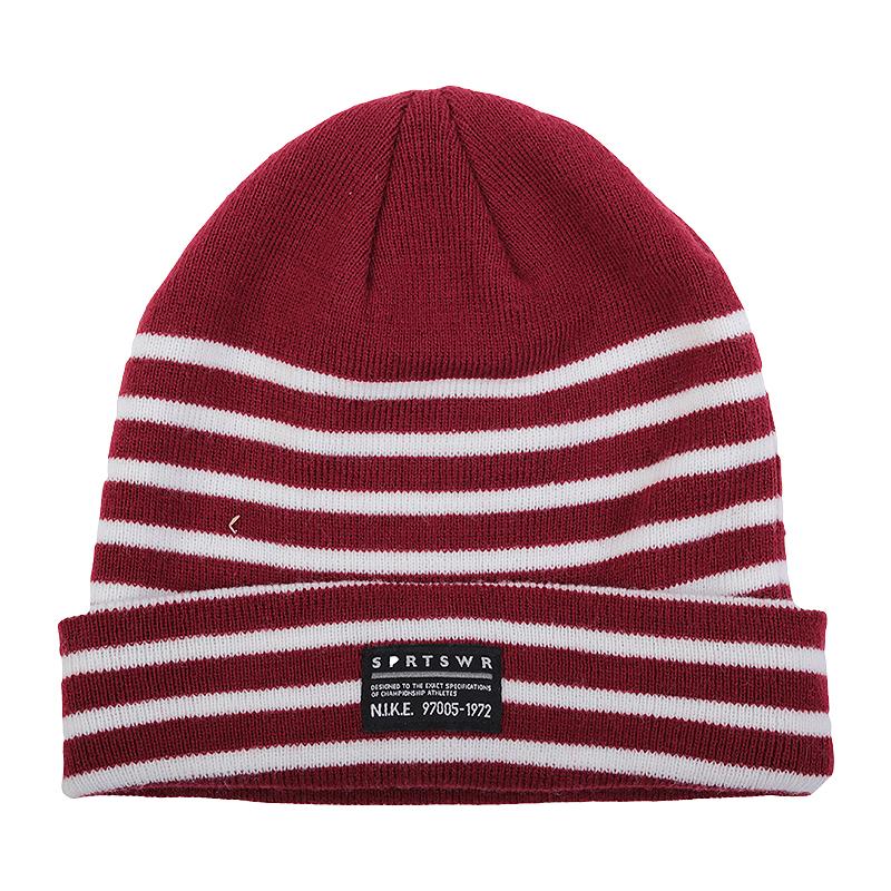 мужскую бордовую  шапка nike wool beanie 506531-677 - цена, описание, фото 1