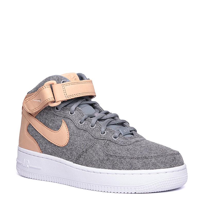 Кроссовки  Nike sportswear WMNS Air Force 1 07 Mid LTHR PRMКроссовки lifestyle<br>кожа, текстиль, синтетика, резина.<br><br>Цвет: кремовый, серый.<br>Размеры US: 6.5<br>Пол: Женский