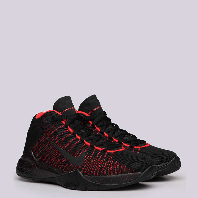 Кроссовки Nike Zoom Ascention GSКроссовки баскетбольные<br>Текстиль, синтетика, резина<br><br>Цвет: Чёрный, красный<br>Размеры US: 3.5Y;4.5Y;4Y;5Y<br>Пол: Детский