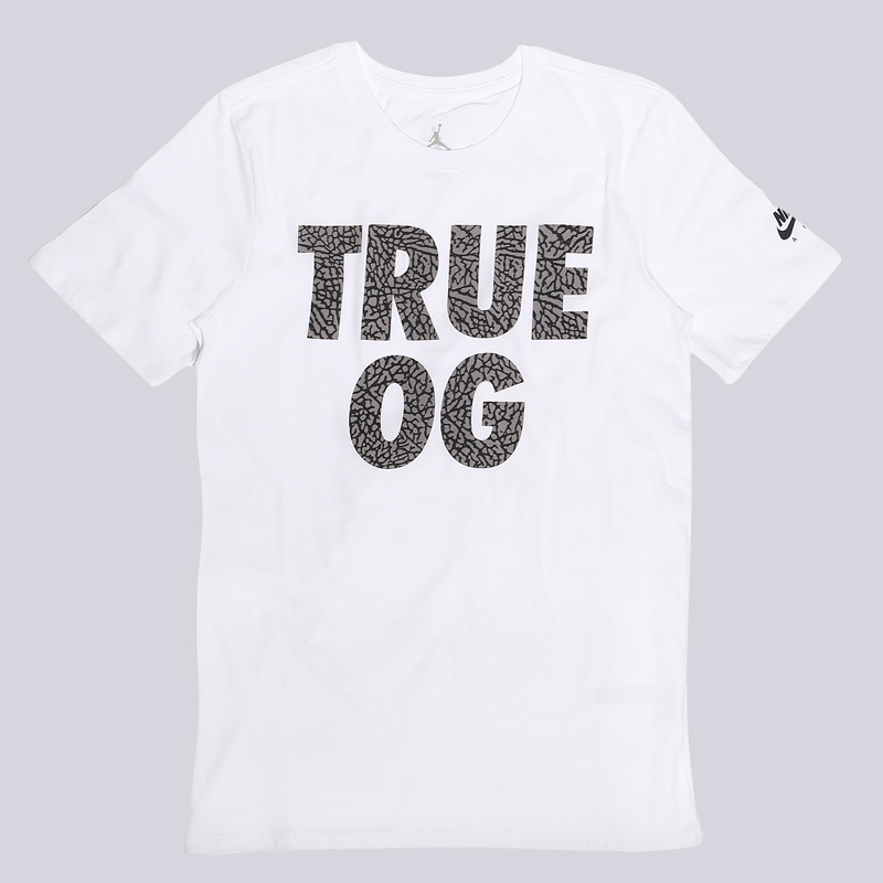 Футболка Jordan AJ 3 True OG TeeФутболки<br>Хлопок<br><br>Цвет: Белый<br>Размеры US: S;M;L;XL<br>Пол: Мужской