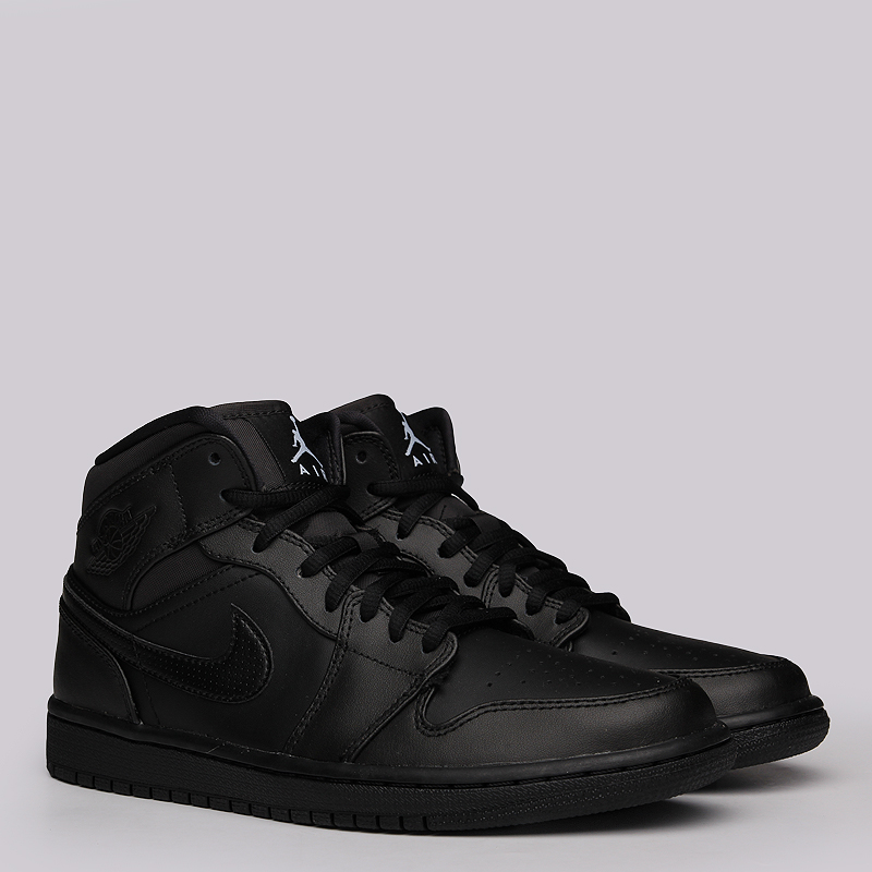 Кроссовки Air Jordan 1 MIDКроссовки lifestyle<br>Кожа, синтетика, резина<br><br>Цвет: Черный<br>Размеры US: 8.5<br>Пол: Мужской