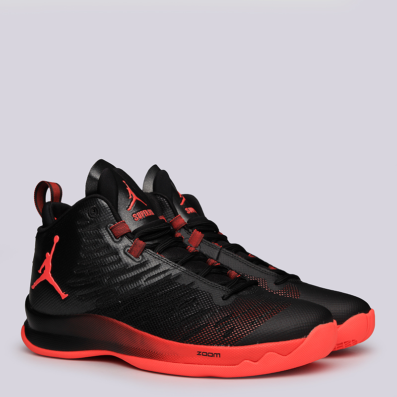Кроссовки Jordan Super.Fly 5Кроссовки баскетбольные<br>Текстиль, резина<br><br>Цвет: Чёрный, красный<br>Размеры US: 8<br>Пол: Мужской