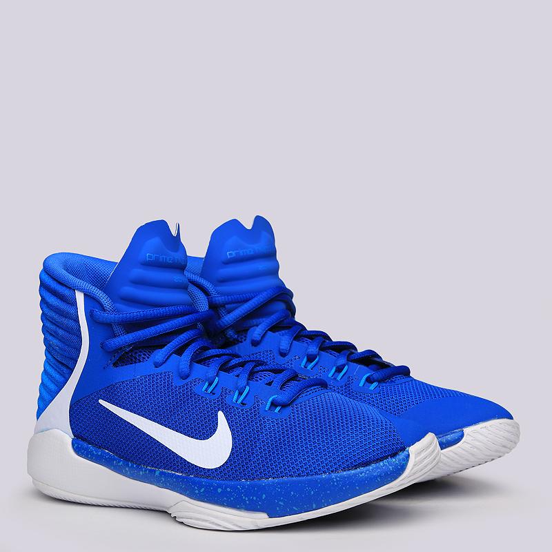 Кроссовки Nike Prime Hype DF GS 2016Кроссовки баскетбольные<br>Текстиль, пластик, резина<br><br>Цвет: Синий, белый<br>Размеры US: 4Y<br>Пол: Детский
