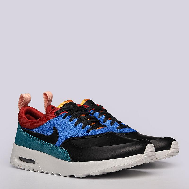 Кроссовки Nike Sportswear WMNS Air Max Thea PRMКроссовки lifestyle<br>Кожа, текстиль, резина<br><br>Цвет: Черный, красный, синий<br>Размеры US: 6;6.5<br>Пол: Женский