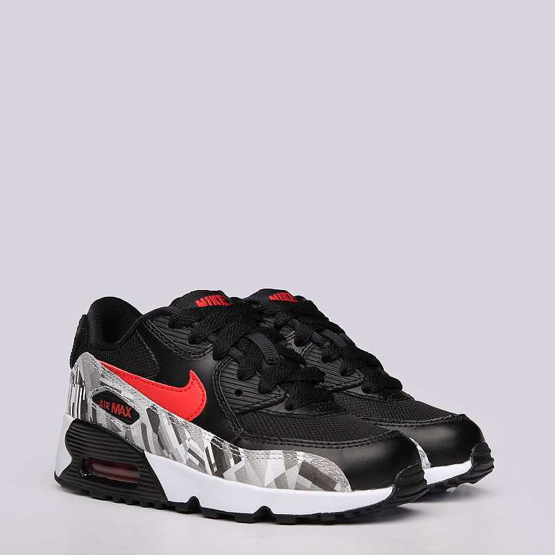 3a435dd5 детские черные кроссовки nike air max 90 print mesh ps 833491-001 - цена,