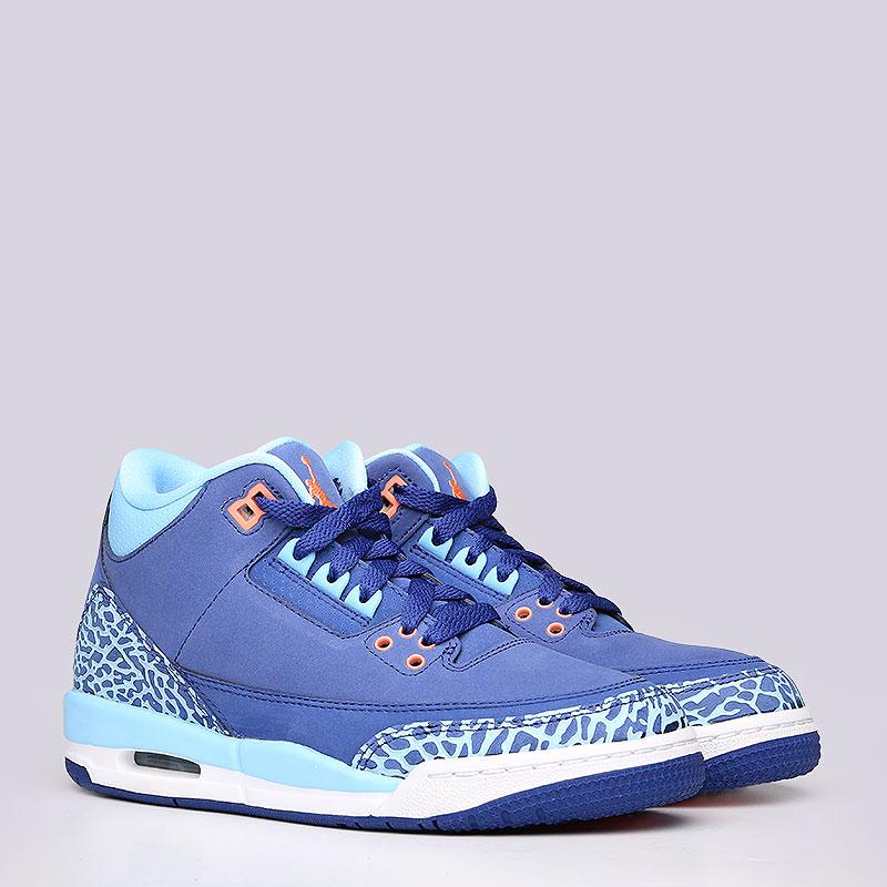 Кроссовки Jordan III Retro GGКроссовки lifestyle<br>Кожа, синтетика, резина<br><br>Цвет: Синий<br>Размеры US: 4Y<br>Пол: Женский