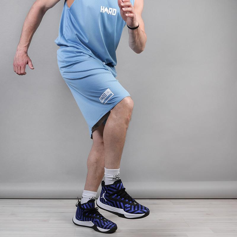 мужские серые, голубые  шорты hard hrd shorts Hard grey/blue-074 - цена, описание, фото 4