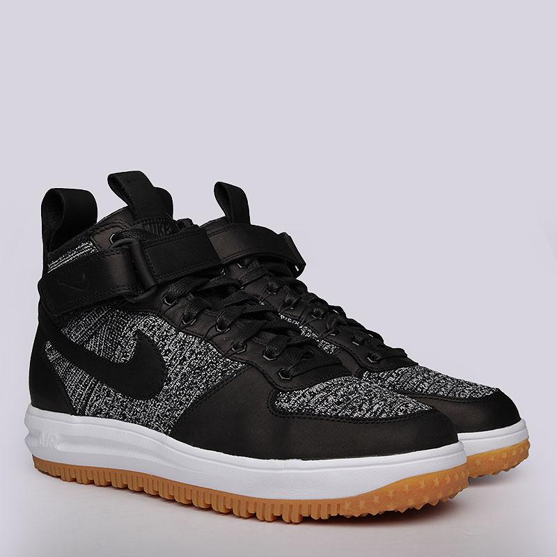 Кроссовки Nike Sportswear Lunar Force 1 Flyknit WorkbootКроссовки lifestyle<br>Кожа, текстиль, резина<br><br>Цвет: Черный<br>Размеры US: 8<br>Пол: Мужской