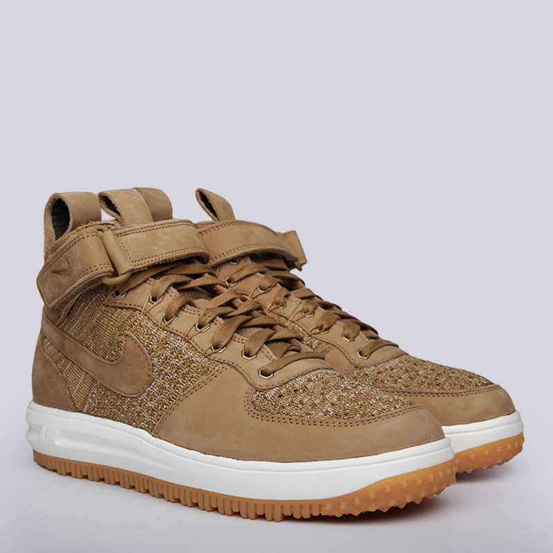 Кроссовки Nike Sportswear Lunar Force 1 Flyknit WorkbootКроссовки lifestyle<br>Кожа, текстиль, резина<br><br>Цвет: Бежевый<br>Размеры US: 8;11<br>Пол: Мужской