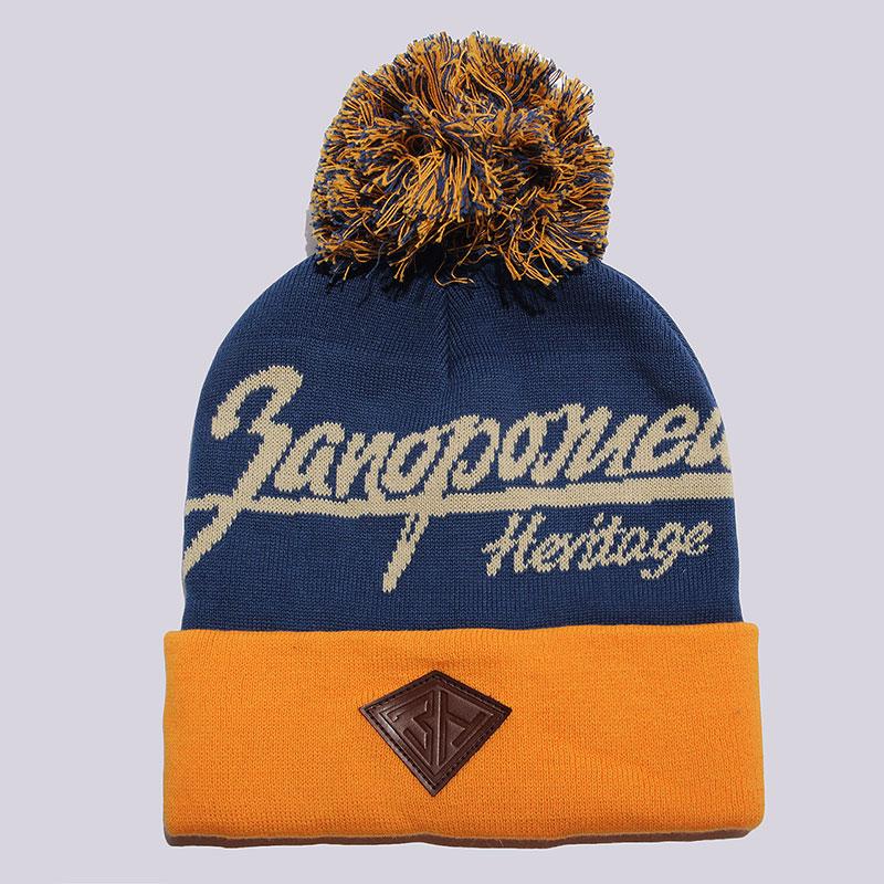 Шапка Запорожец heritage Original Logo PomШапки<br>100% хлопок<br><br>Цвет: Синий, желтый<br>Размеры : OS