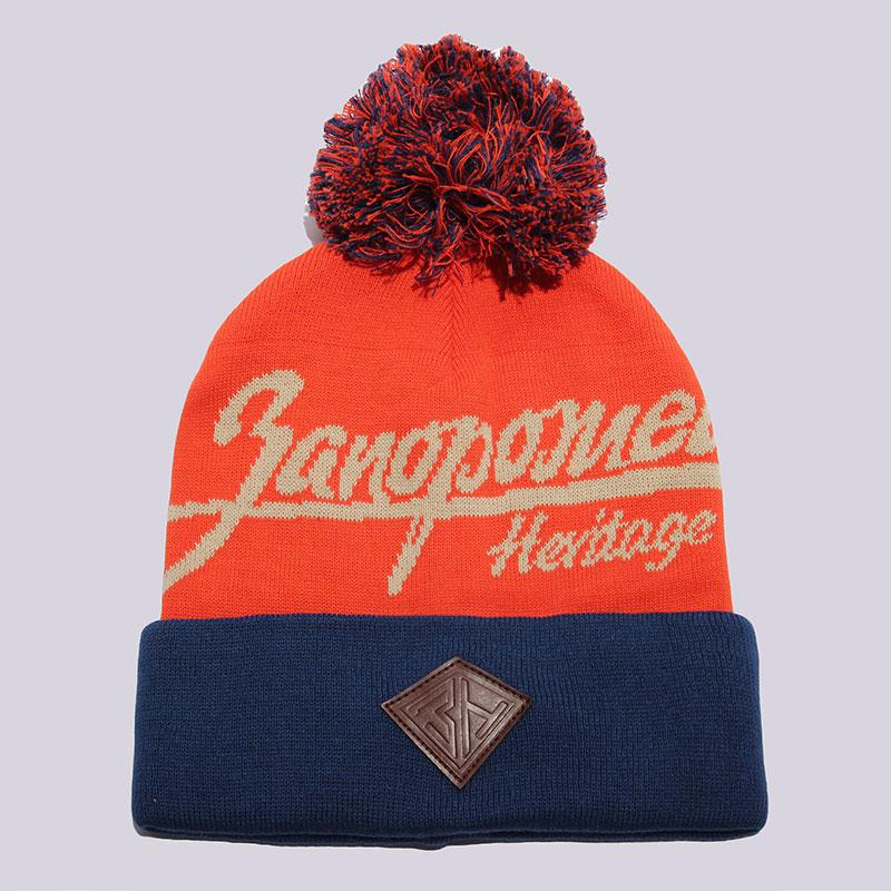 Шапка Запорожец heritage Original Logo PomШапки<br>100% хлопок<br><br>Цвет: Оранжевый, синий<br>Размеры : OS