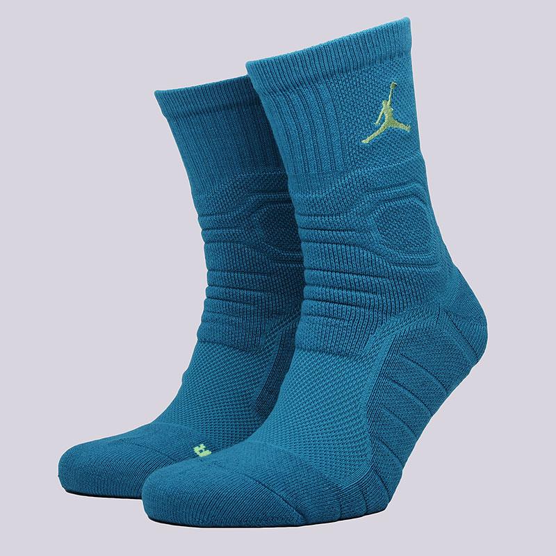 Носки Jordan Ultimate Flight CrewНоски<br>53% полиэстер, 27% нейлон, 14% хлопок, 5%&amp;nbsp;эластан<br><br>Цвет: Голубой<br>Размеры US: M;L;XL<br>Пол: Мужской