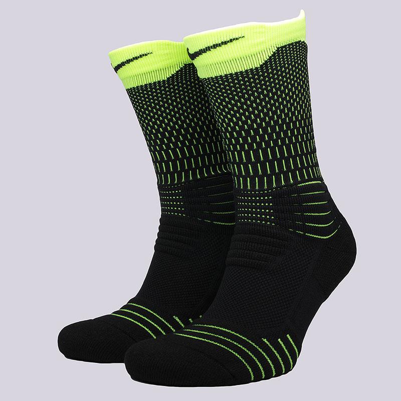 мужские черные, салатовые  носки nike u nk elt versa crew SX5372-011 - цена, описание, фото 1