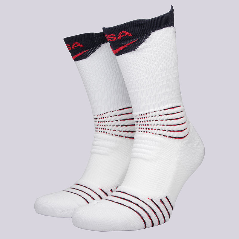 Носки Nike U NK ELT Versa Crew USABНоски<br>58% нейлон, 29% полиэстер, 9% хлопок, 4%эластан<br><br>Цвет: Белый, синий<br>Размеры US: L;XL<br>Пол: Мужской