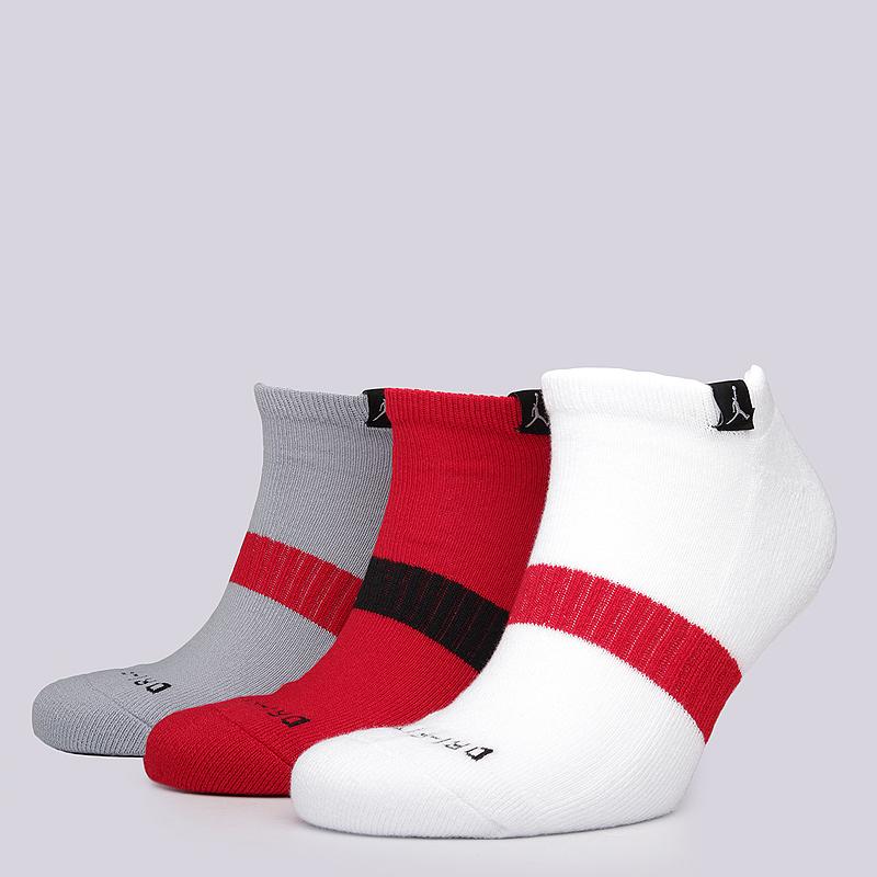 Носки Jordan Dri-FIT No-Show SocksНоски<br>73% полиэстер, 24% эластан, 3% нейлон<br><br>Цвет: Красный, серый, белый<br>Размеры US: M<br>Пол: Мужской