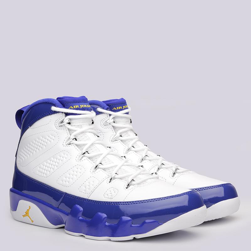Кроссовки Jordan IX RetroКроссовки lifestyle<br>Кожа, текстиль, резина<br><br>Цвет: Белый, синий<br>Размеры US: 8;8.5;9;10;11.5;12.5<br>Пол: Мужской