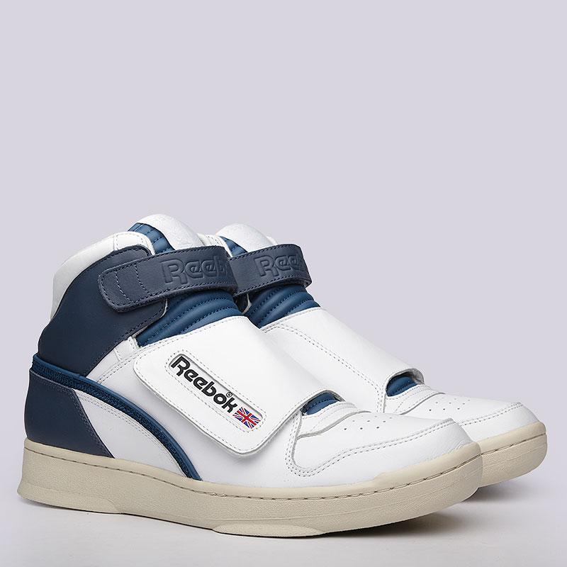 Кроссовки Reebok Alien Stomper MidКроссовки lifestyle<br>Кожа, текстиль, резина<br><br>Цвет: Белый, синий<br>Размеры US: 10;11<br>Пол: Мужской