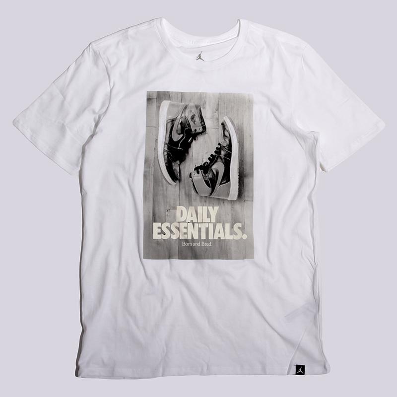 Футболка Jordan Daily EssentialsФутболки<br>100% хлопок<br><br>Цвет: Белый<br>Размеры US: M;L<br>Пол: Мужской