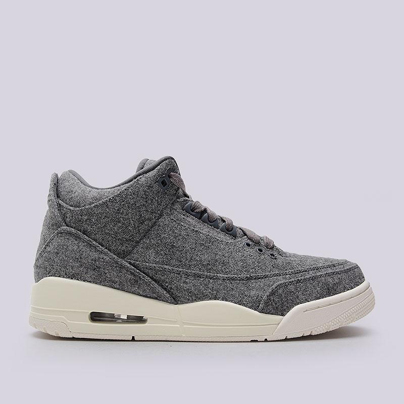 Кроссовки Air Jordan III Retro WoolКроссовки lifestyle<br>Текстиль, резина<br><br>Цвет: Серый<br>Размеры US: 8;8.5<br>Пол: Мужской