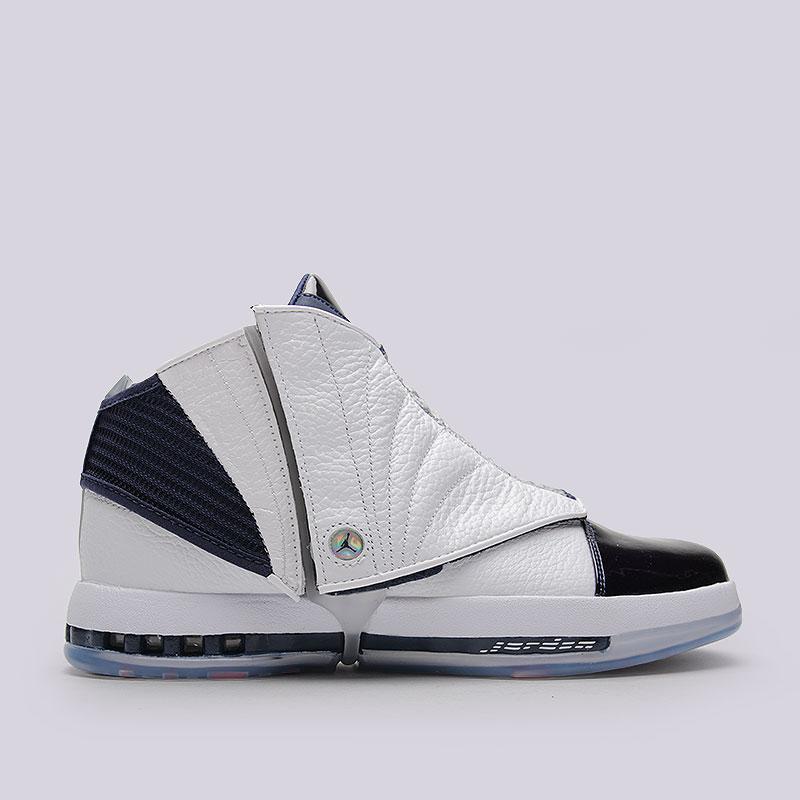 Кроссовки Air Jordan XVI RetroКроссовки lifestyle<br>Синтетика, кожа, текстиль, резина<br><br>Цвет: Белый, синий<br>Размеры US: 8<br>Пол: Мужской