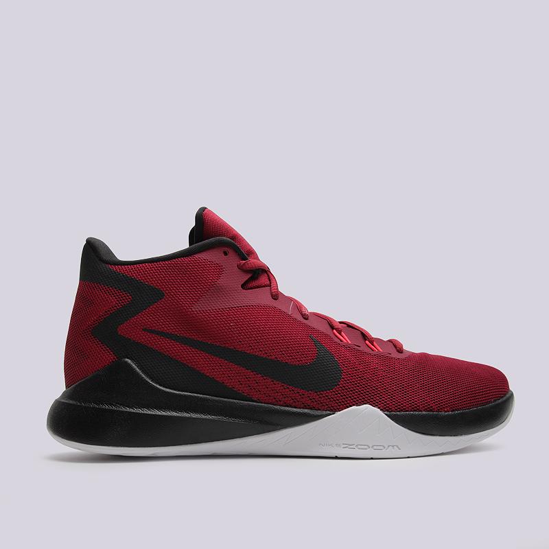 Кроссовки Nike Zoom EvidenceКроссовки баскетбольные<br>пластик, текстиль, резина<br><br>Цвет: Черный, красный<br>Размеры US: 8;8.5;9;9.5;10;10.5;11;11.5;12;12.5;14;15<br>Пол: Мужской
