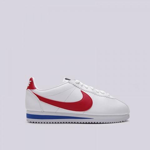 женские белые  кроссовки nike wmns classic cortez leather 807471-103 - цена, описание, фото 1