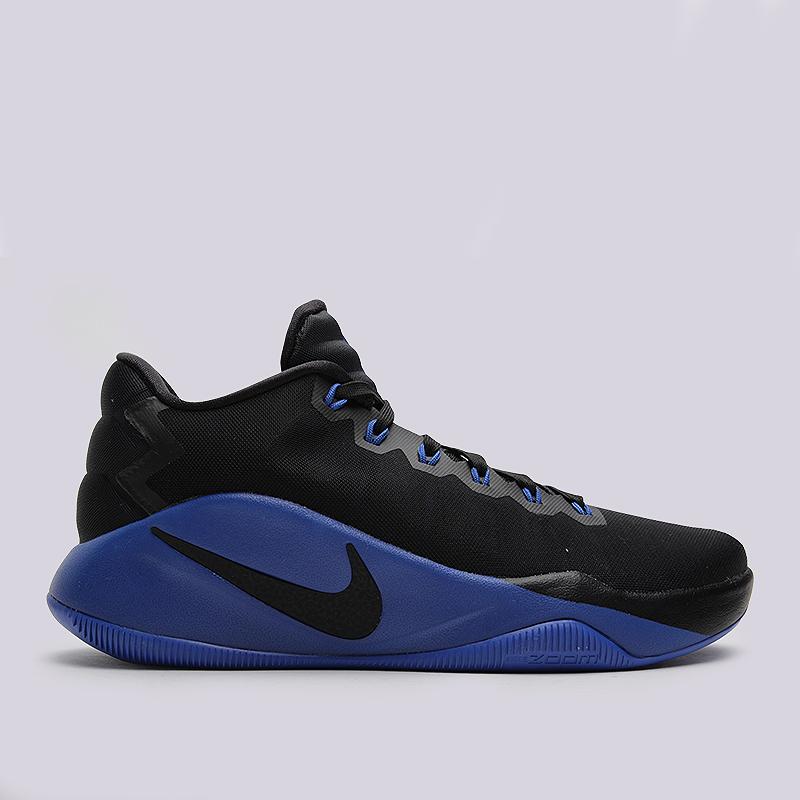 Кроссовки Nike Hyperdunk 2016 LowКроссовки баскетбольные<br>пластик, текстиль, резина<br><br>Цвет: Черный, синий<br>Размеры US: 15<br>Пол: Мужской