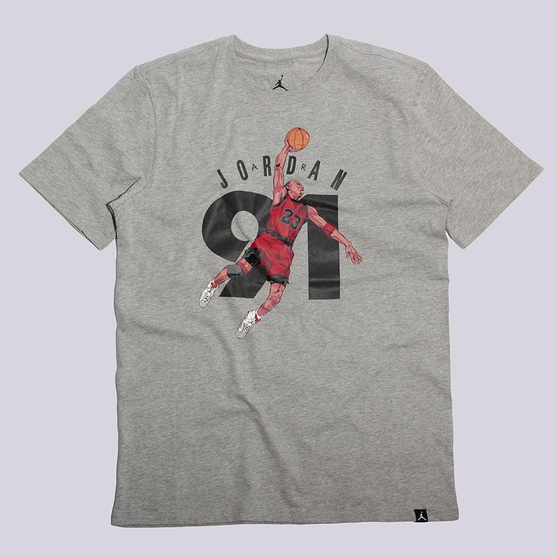 Футболка Jordan AJ 6 Ninety One TeeФутболки<br>100% хлопок<br><br>Цвет: Серый<br>Размеры US: S;M;L;XL;2XL<br>Пол: Мужской