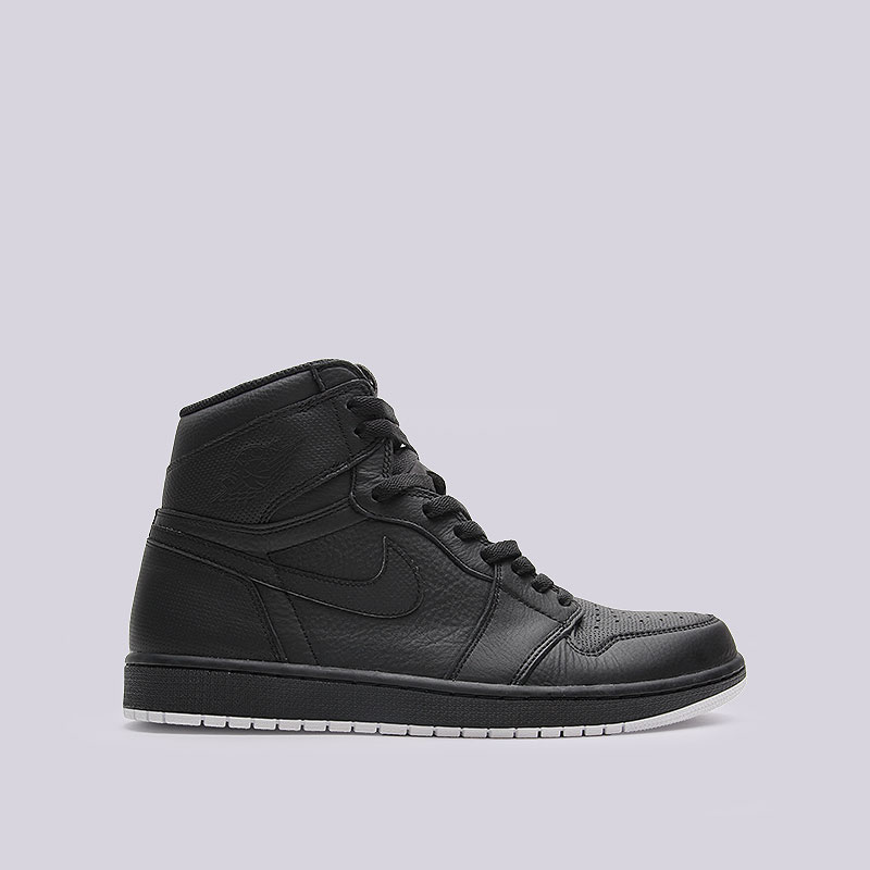 Кроссовки Air Jordan 1 Retro High OGКроссовки lifestyle<br>Кожа, синтетика, текстиль, резина<br><br>Цвет: Чёрный<br>Размеры US: 12.5<br>Пол: Мужской