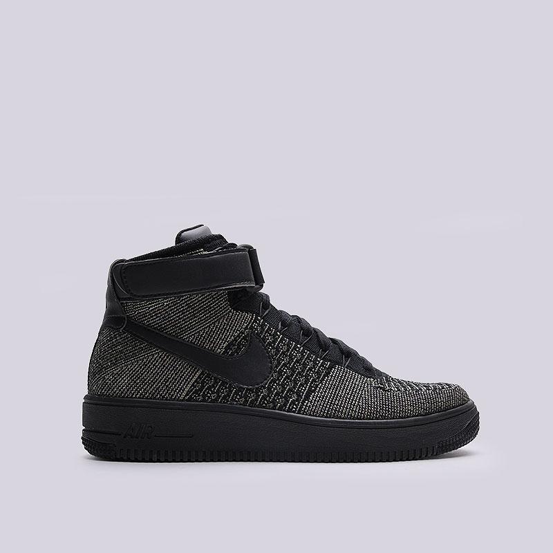 Кроссовки Nike Air Force 1 Ultra Flyknit MidКроссовки lifestyle<br>Текстиль, кожа, резина<br><br>Цвет: Чёрный<br>Размеры US: 8<br>Пол: Мужской