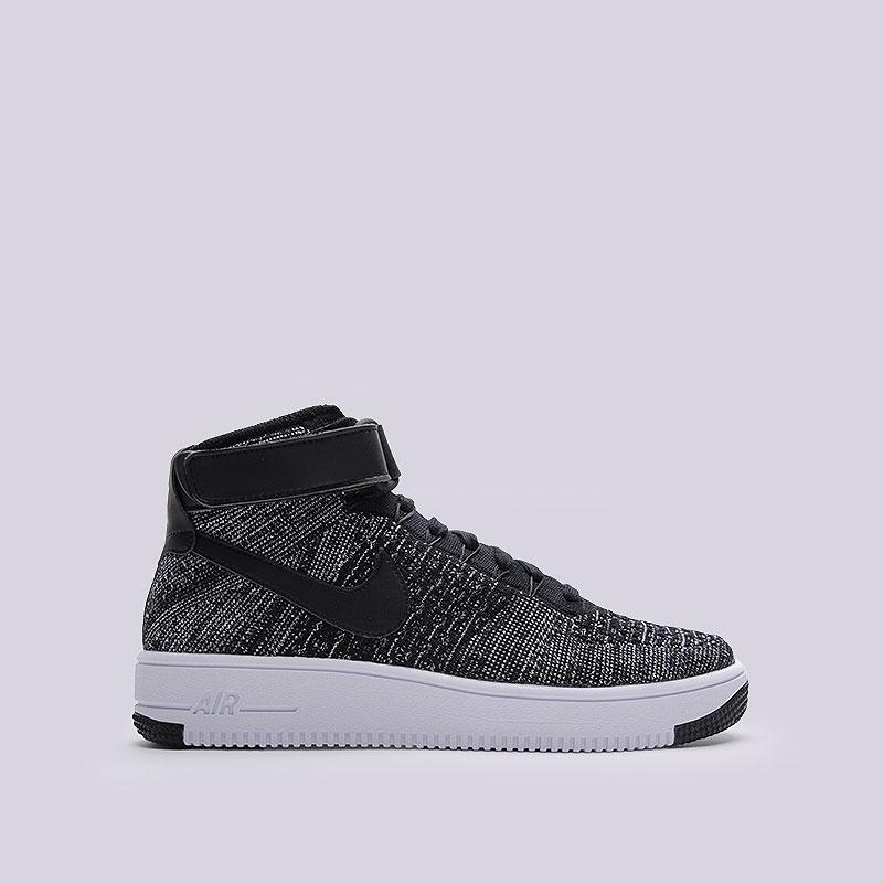 Кроссовки Nike Sportswear Air Force 1 Ultra Flyknit MidКроссовки lifestyle<br>Текстиль, кожа, резина<br><br>Цвет: Чёрный<br>Размеры US: 8;8.5;9;9.5;10;10.5;11;13<br>Пол: Мужской