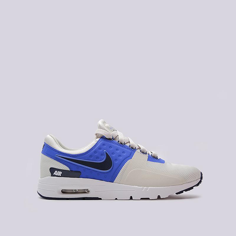 Кроссовки Nike WMNS Air Max ZeroКроссовки lifestyle<br>текстиль, резина<br><br>Цвет: Синий, бежевый<br>Размеры US: 7<br>Пол: Женский