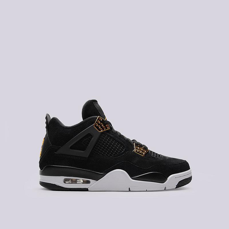 Кроссовки Air Jordan IV RetroКроссовки lifestyle<br>Кожа, пластик, текстиль, резина<br><br>Цвет: Чёрный<br>Размеры US: 12<br>Пол: Мужской