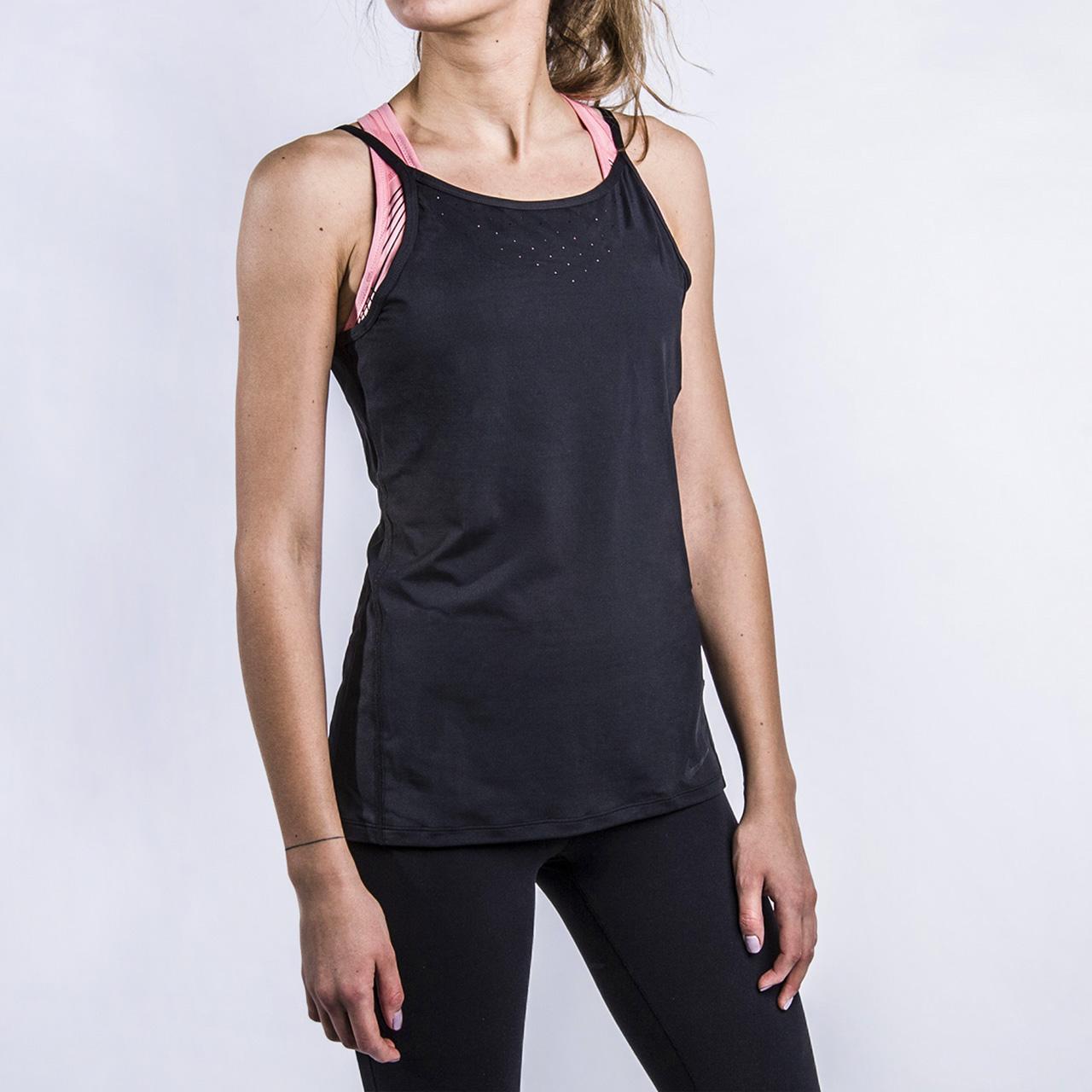 Майка для тренинга Nike NK Dry TankБезрукавки<br>88% полиэстер, 12% спандекс<br><br>Цвет: Черный<br>Размеры US: XS;S;M;L<br>Пол: Женский