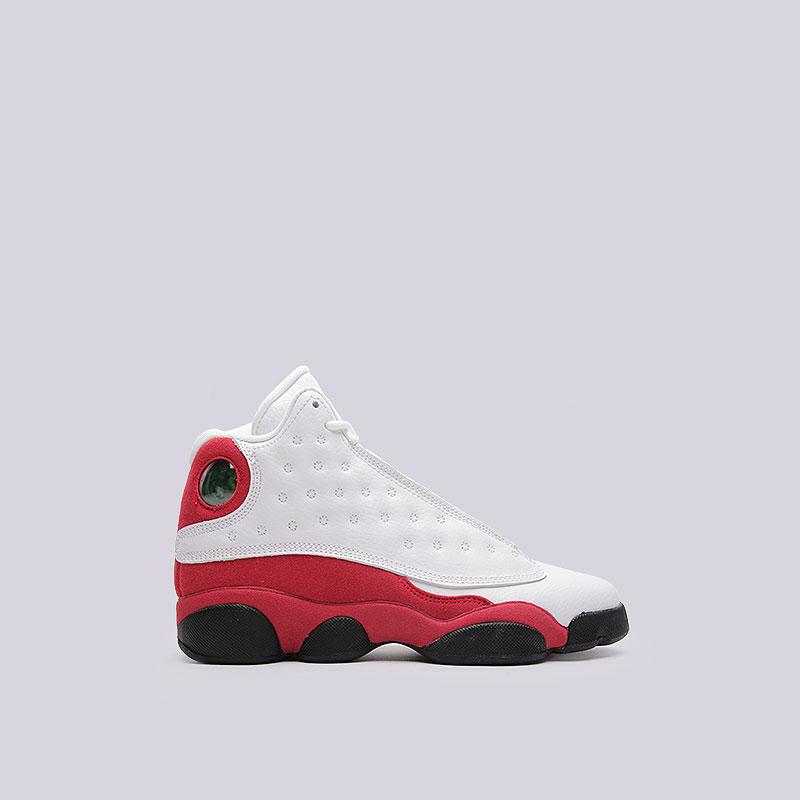 Кроссовки Jordan XIII Retro BGОбувь детская<br>Кожа, текстиль, резина, пластик<br><br>Цвет: Белый, красный, чёрный<br>Размеры US: 3.5Y;4.5Y<br>Пол: Детский