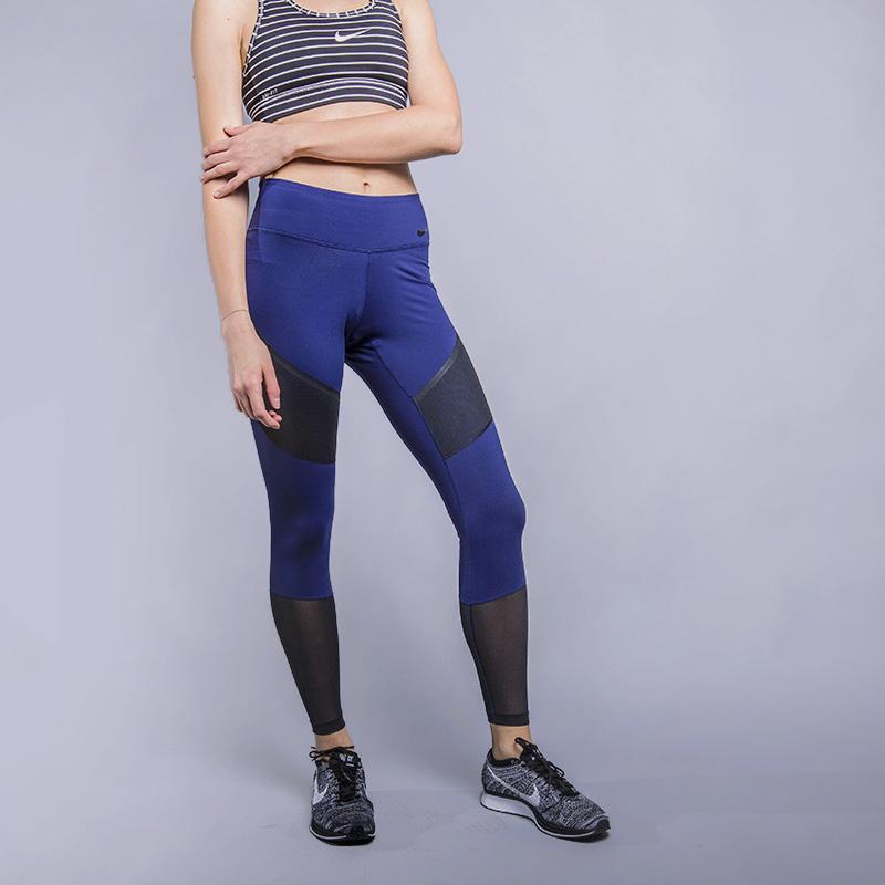 Тайтсы для тренинга Nike NK PWR LGNDRY TGHT MIDБрюки и джинсы<br>80% нейлон, 20% эластан<br><br>Цвет: Синий<br>Размеры US: XS;S;M;L<br>Пол: Женский