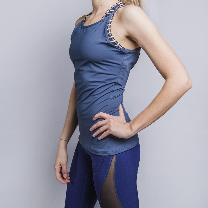 Майка для тренинга Nike NK Dry TankБезрукавки<br>88% полиэстер, 12% спандекс<br><br>Цвет: Синий<br>Размеры US: XS;S;M;L;XL<br>Пол: Женский