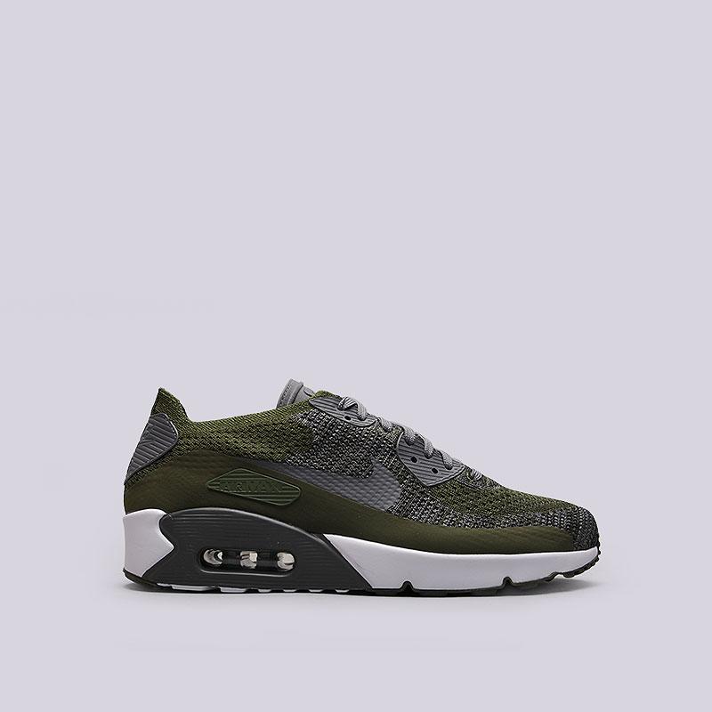 Кроссовки  Nike Sportswear Air Max 90 Ultra 2.0 FlyknitКроссовки lifestyle<br>Текстиль, пластик, резина<br><br>Цвет: Зелёный, серый<br>Размеры US: 10.5;11;12<br>Пол: Мужской
