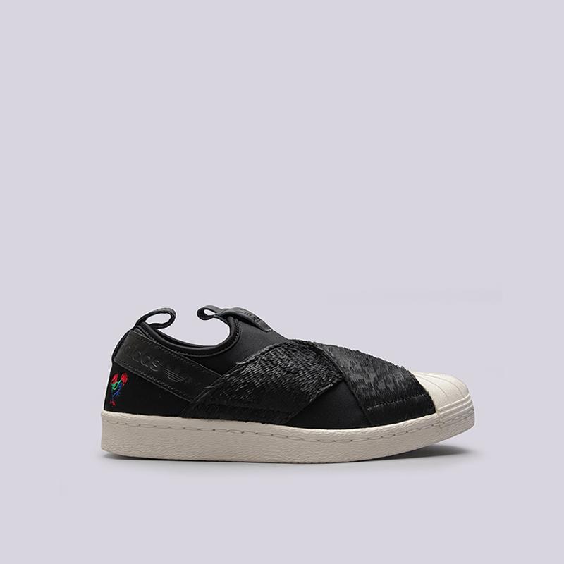 Кроссовки adidas W Superstar SlipOnКроссовки lifestyle<br>кожа,синтетика, текстиль, резина<br><br>Цвет: Черный<br>Размеры UK: 6.5;7;7.5;8;8.5<br>Пол: Женский