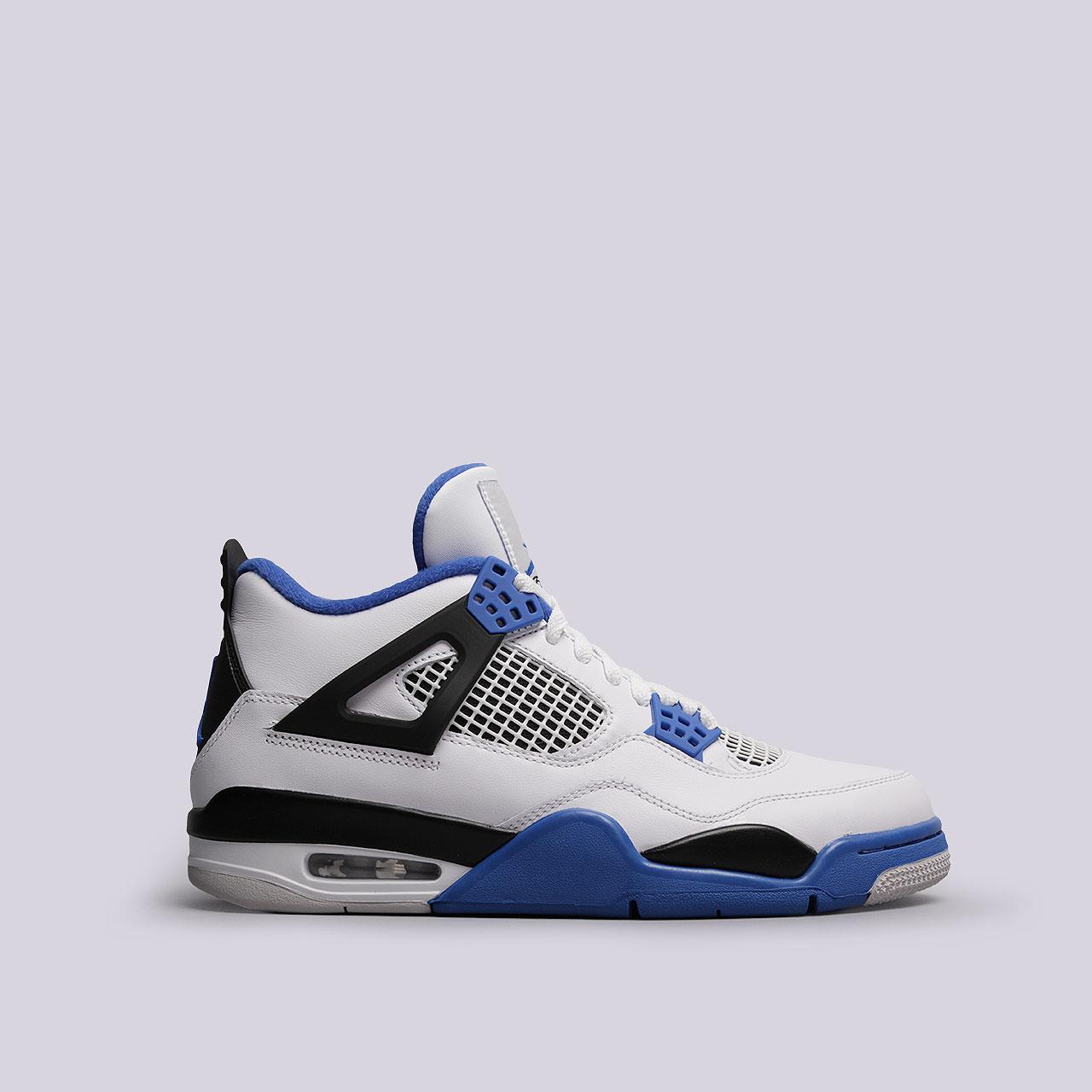 Кроссовки Jordan IV RetroКроссовки lifestyle<br>Кожа, текстиль, резина<br><br>Цвет: Белый, синий, черный<br>Размеры US: 8.5;15<br>Пол: Мужской
