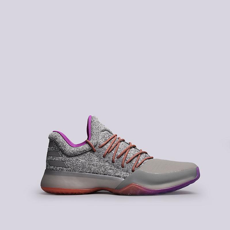 Кроссовки  adidas Harden Vol.1Кроссовки баскетбольные<br>Синтетика, текстиль, резина<br><br>Цвет: Серый, фиолетовый<br>Размеры UK: 7;8<br>Пол: Мужской