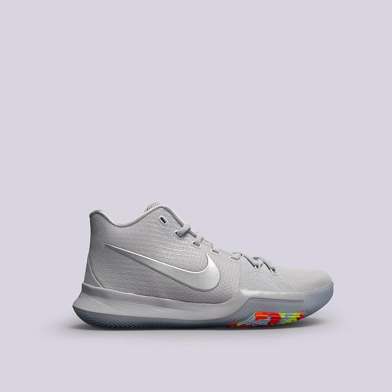 Кроссовки  Nike Kyrie 3 TSКроссовки баскетбольные<br>Текстиль, синтетика, резина<br><br>Цвет: Серый<br>Размеры US: 12<br>Пол: Мужской