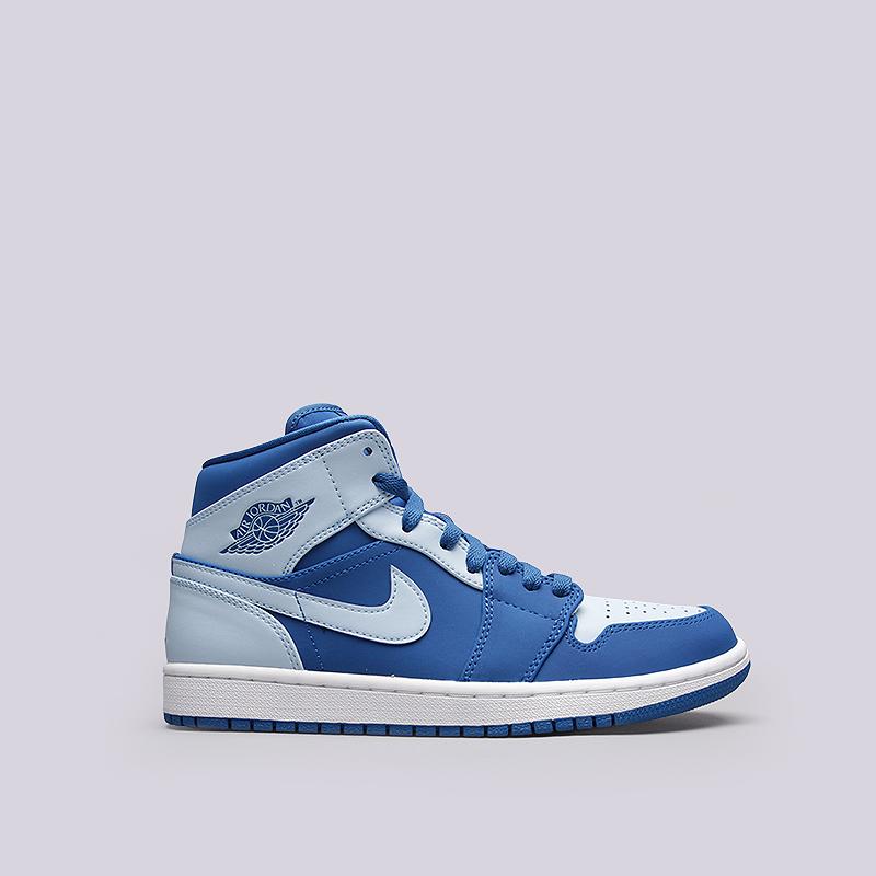 Кроссовки Jordan 1 Retro MidКроссовки lifestyle<br>Кожа, синтетика, текстиль, резина<br><br>Цвет: Синий, голубой<br>Размеры US: 8<br>Пол: Мужской