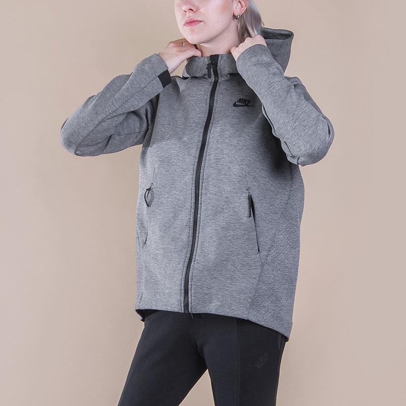 Толстовка Nike Sportswear Tech Fleece HoodieТолстовки свитера<br>66% хлопок, 34% полиэстер<br><br>Цвет: Серый<br>Размеры US: M;L<br>Пол: Женский