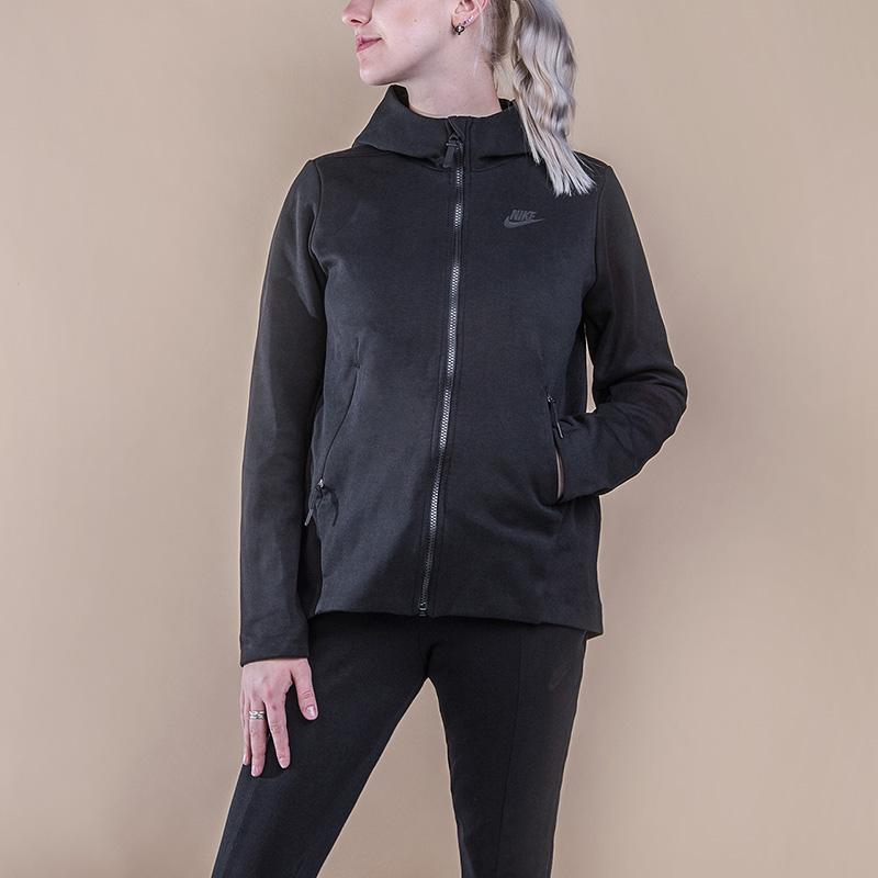 Толстовка Nike Tech Fleece HoodieТолстовки свитера<br>66% хлопок, 34% полиэстер<br><br>Цвет: Черный<br>Размеры US: M<br>Пол: Женский