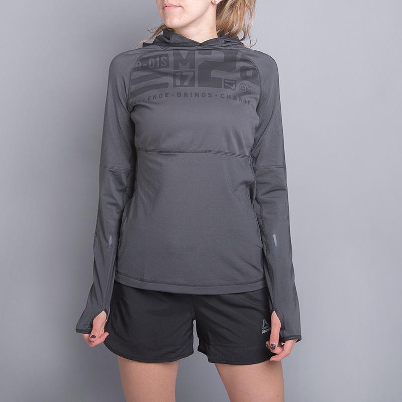 Толстовка Reebok Speedwick Water Resistant HoodieТолстовки свитера<br>86% полиэстер, 14% эластан<br><br>Цвет: Серый<br>Размеры US: L<br>Пол: Женский