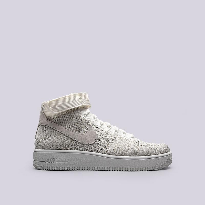 Кроссовки  Nike Sportswear Air Force 1 Ultra Flyknit MidКроссовки lifestyle<br>Текстиль, кожа, резина<br><br>Цвет: Бежевый<br>Размеры US: 8;8.5;9;9.5;10;11;11.5;12;12.5;15<br>Пол: Мужской