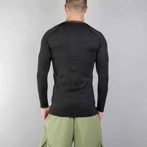 мужской чёрный  лонгслив nike compression ls top 703088-010 - цена, описание, фото 2
